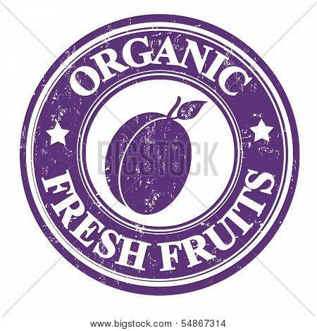 Plum Fruit Stamp Or Label