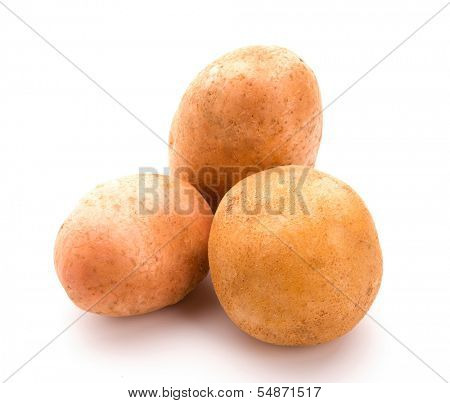 Three potatoes. Isolated over white background. Fresh vegetables.