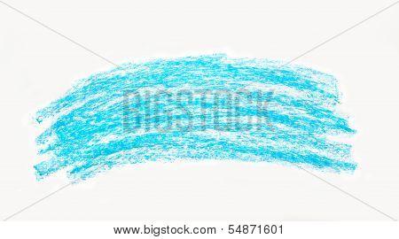 Abstract Blue Wax Crayon Hand Drawing