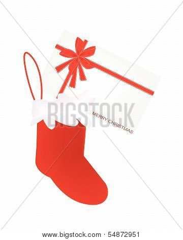 A Lovely Red Christmas Stocking With Greeting Card