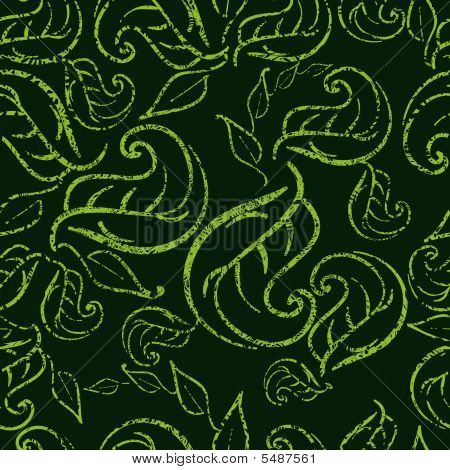 Seamless Green Floral Pattern With Twirled Grunge Leafs