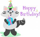 Here is a cute Raccoon sending a Happy Birthday greeting. poster