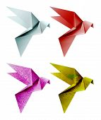 Set of colorful origami bird. Vector illustration, EPS 10 poster
