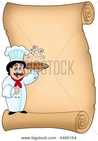 Scroll With Chef Holding Pizza