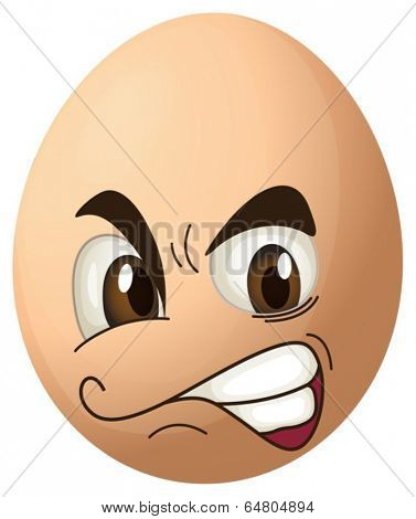 Illustration of an angry egg on a white background