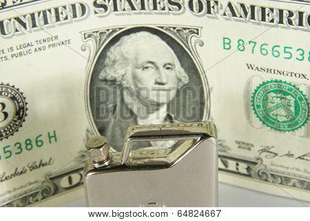 Hand petrol tank and dollar