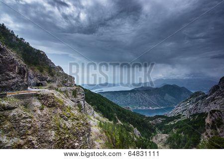 Road Above Boka Kotor Bay. Montenegro