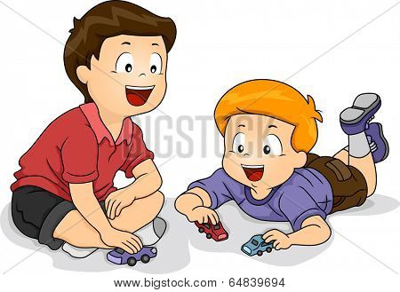 Illustration Featuring Little Boys Playing with Toy Cars