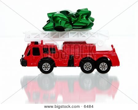 Little Toy Fire Engine W/Green Bow