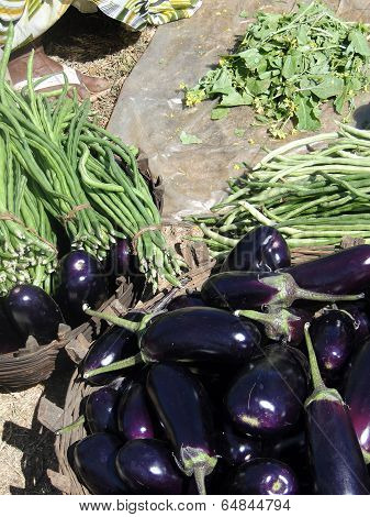 Eggplants  Andf Long Green Beans For Sale In Weekly Market
