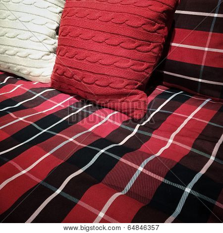 Checked Bed Sheets And Cushions