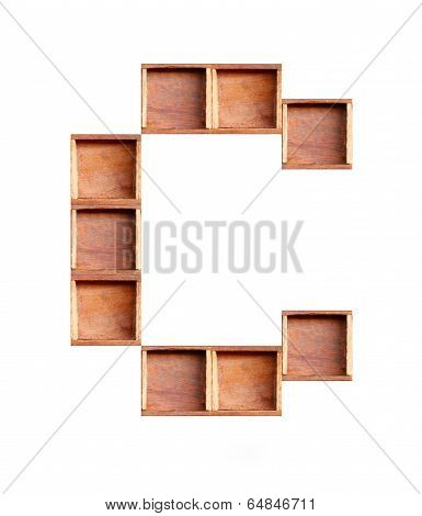 Wooden Box Made Of Consonant  Isolated