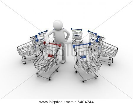 man shopping carts
