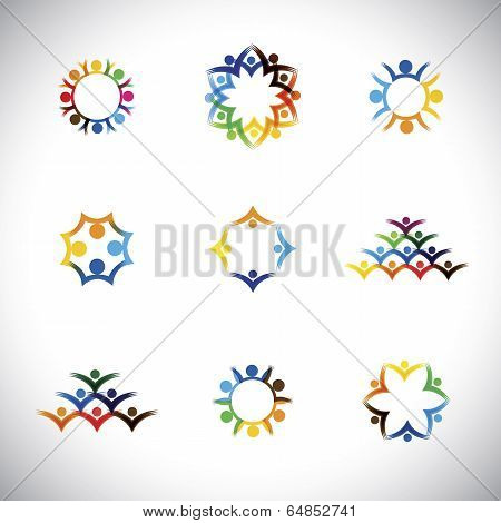 Colorful People, Children, Employees Icons Collection Set - Vector Graphic.