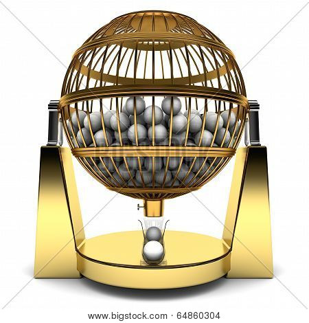 Bingo Cage of gold with balls