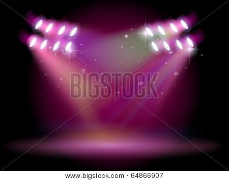 Illustration of an empty stage with spotlights