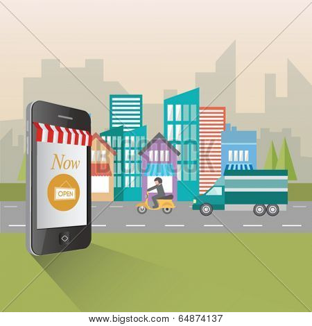 Digitally generated online shopping and retail concept illustration