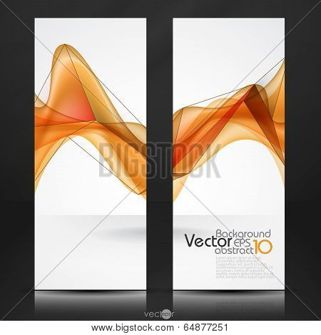 poster of Abstract Orange Smooth Waves. Vector Illustration. Eps 10
