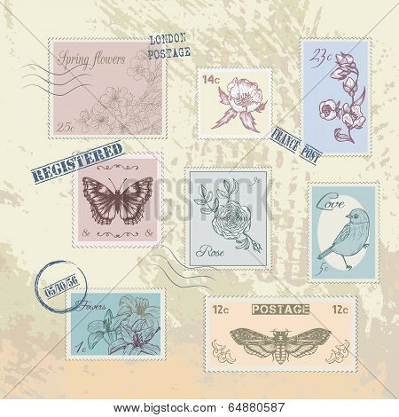 Set of vintage post stamps, vector design element poster