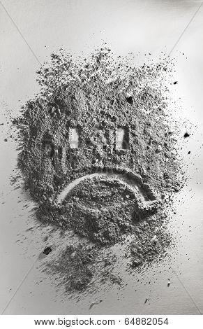 Sad Emoticon Made Of Ash