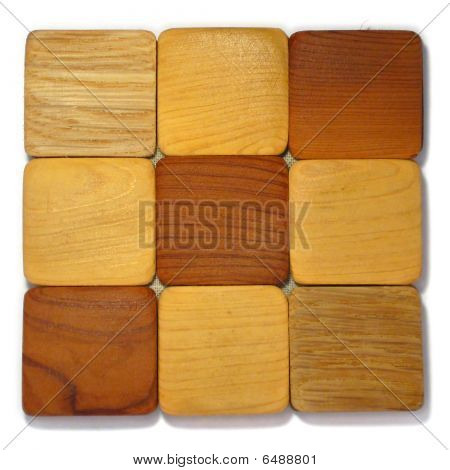Wood samples. Color bright  photo of interior. poster