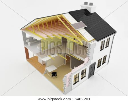 Cross Section View Of An Energy Efficient New Home