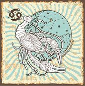 Cancer zodiac signs of Horoscope circle with constellation on shabby vintage background.Graphic Vector Illustration in retro style. poster
