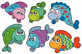 Crazy fishes collection on white background - vector illustration. poster