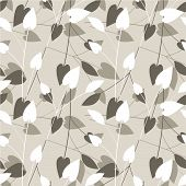 abstract repeat sample with leaf motive in beige and brown poster