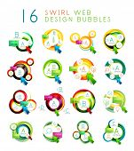 Mega collection of swirl web design infographic bubbles - flat concept. poster