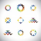 colorful people children employees icons collection set - vector graphic. This illustration also represents love unity solidarity alliance union teamwork organization together group poster