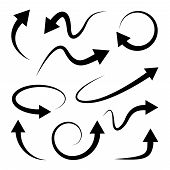 Curved arrows set. Full rotation. 360 degrees. Refresh, repeat symbol. Vector poster