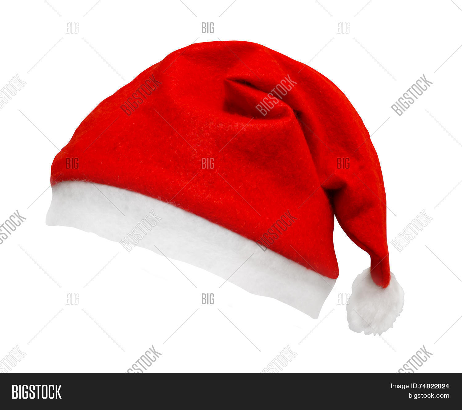 7570b7538f5 Christmas Santa hat isolated against a white background tilted and on an  angle a great element with smooth edges for easy selection and dropping on  your ...