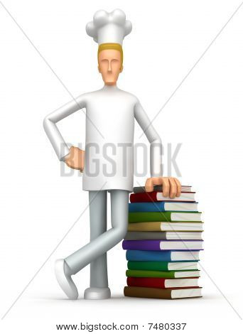 Chef With A Stack Of Books