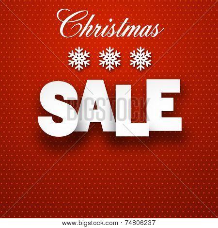 White sale sign over red background. Vector illustration.