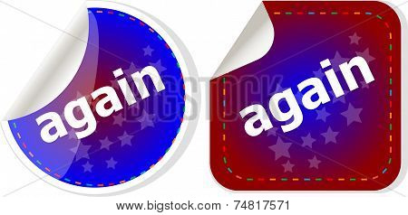Again Word On Stickers Button Set, Label