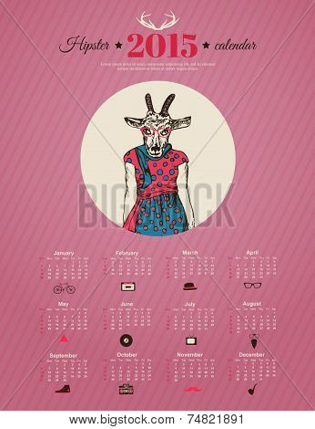 Calendar template hipster design. Year of the goat.  Vector illustration.