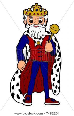 Cartoon king holding scepter