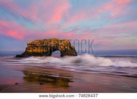Natural Bridge in California at sunset
