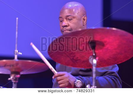 NOVOSIBIRSK, RUSSIA - OCTOBER 23, 2014: American jazz fusion drummer Lenny White during the sound check on Sib Jazz Fest. The festival will run till October 25