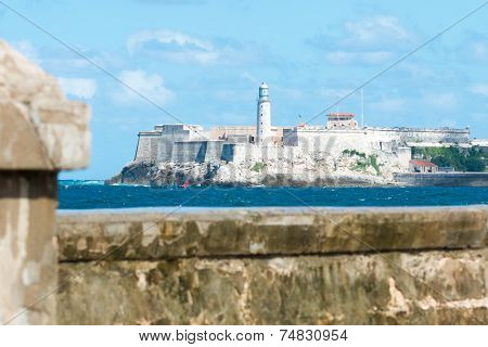 The famous castle of El Morro in Havana with the Malecon seawall in the foreground