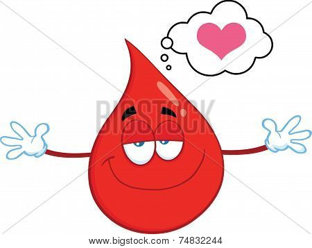 Smiling Red Blood Drop Cartoon Mascot Character With Open Arms For Hugging