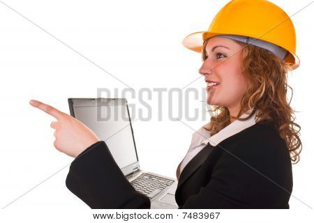 Architect Woman Pointing Left