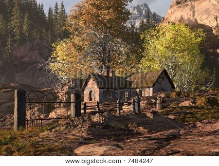 Mountain Cottage And Gate Landscape