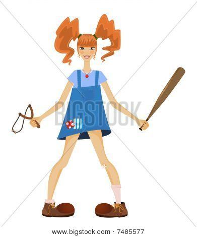 funny girl teenager with red hair vector illustration