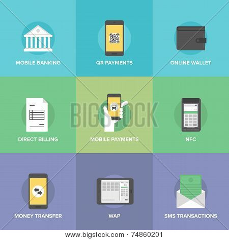 Mobile Payments Flat Icons Set