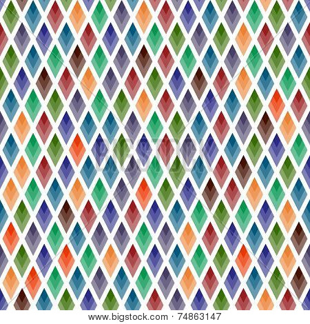 Seamless background of  colored rhombuses on white . poster