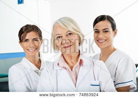 Portrait of confident female technicians in laboratory