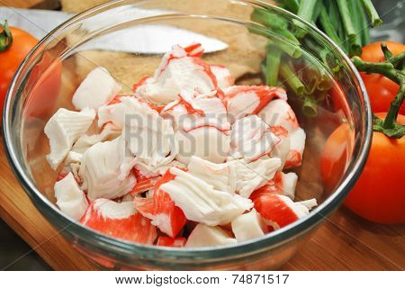 Imitation Crab Meat In A Glass Bowl