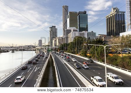 Brisbane Cityscape traffic by the Brisbane River